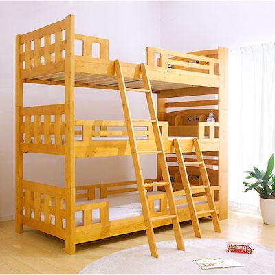 宮付き 三段ベッド North5(ノース5) Lowタイプ H202cm 2色対応