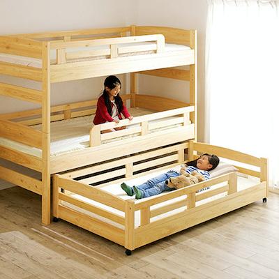 三段ベッド リトリー 国産檜100%使用 スライドタイプ
