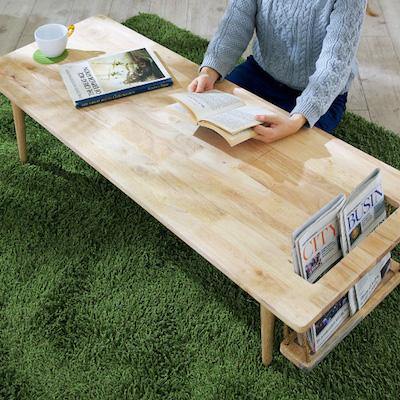 Natural Signature 天然木 センターテーブル Buranko(ブランコ) マガジンラック付き