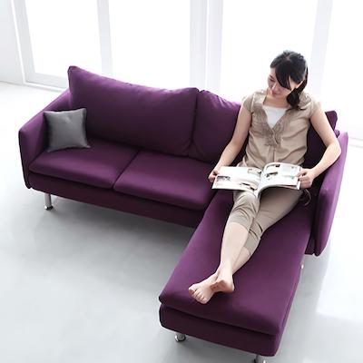 モダンデザインコーナーカウチソファ Elvita(エルヴィータ) 3人掛け 4色対応