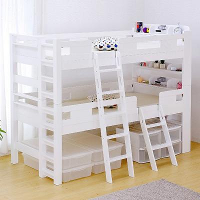 業務用可 2段ベッド G☆SOLID ホワイト 宮付 H177cm 梯子有「家具通販
